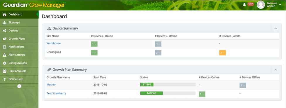 AEtrium Guardian Grow Manager Dashboard