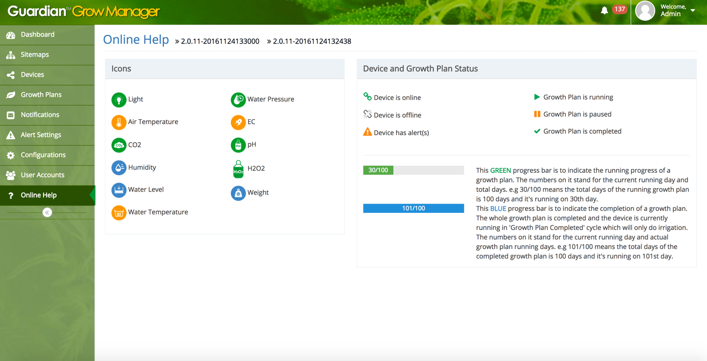 AEtrium Guardian Grow Manager Online Help