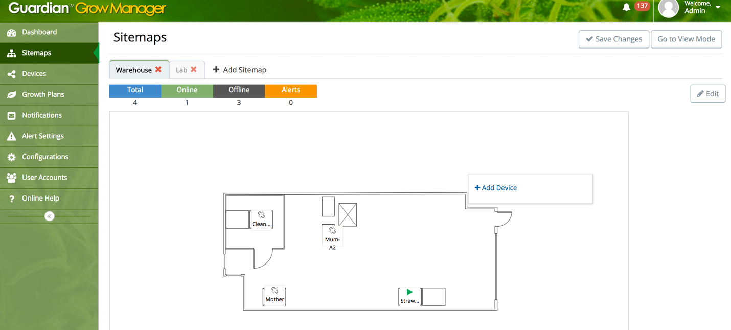 Guardian Grow Manager Sitemap Layout